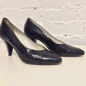 Maud Frizon Vintage 80s Snakeskin Heels Black 36.5